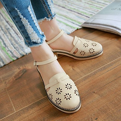 COOLCEPT Mujer Clasico Tacon Ancho Ankle Strap Hueco Vintage Sandalias 613 Beige
