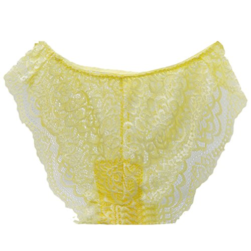 Zhhlinyuan Alta calidad Casual Ladies Smooth Hipster Panty Skin-friendly Lace Underwear Hollow Lingerie Low Waist Multicolor Yellow