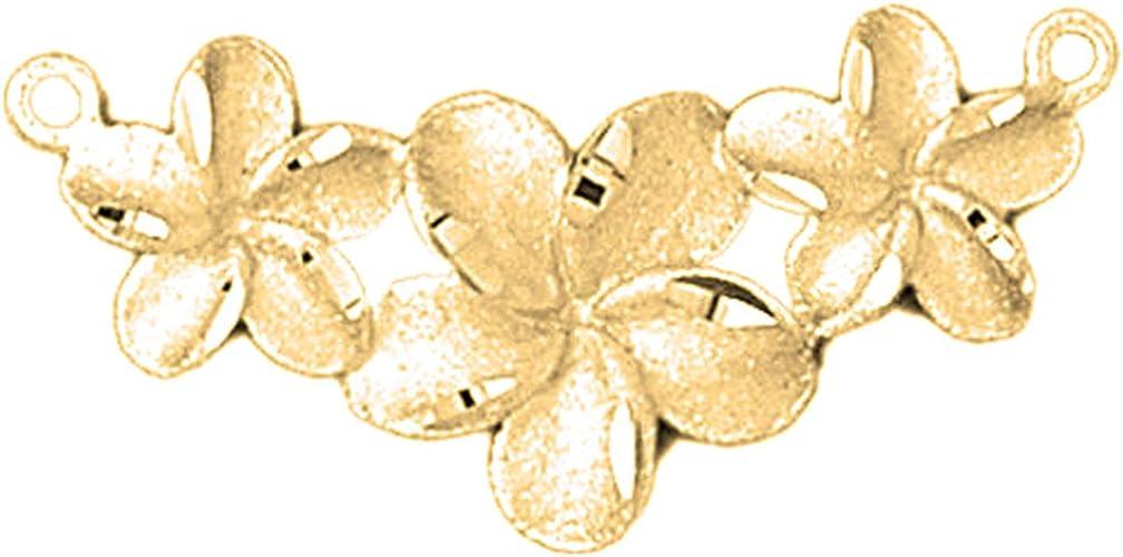 14K Yellow Gold Flower Pendant Jewels Obsession Flower Charm Pendant 17 mm