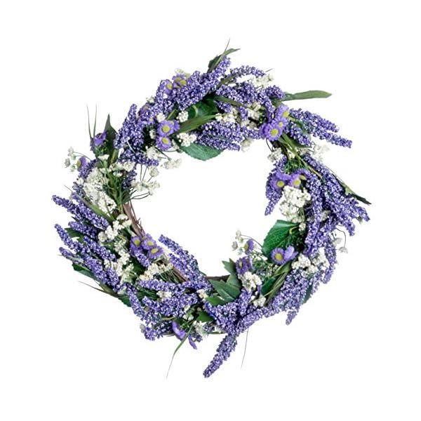 Red Co. 18″ Lavender Baby's Breath, Artificial Spring & Summer Wreath, Door Backdrop Ornaments, Home Décor Collection