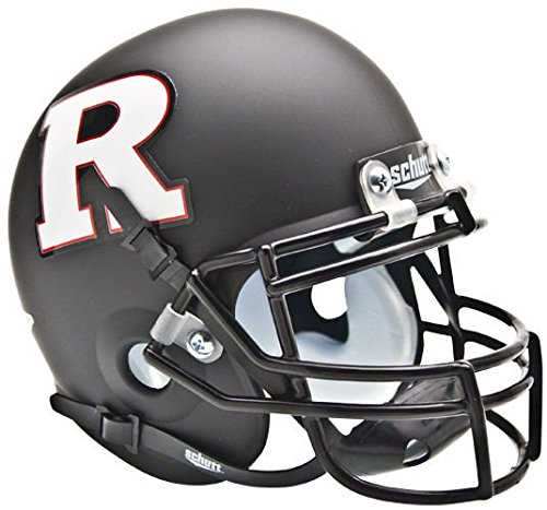 Schutt Rutgers Scarlet Knights Mini XP Authentic Helmet - Matte Black White R - NCAA Licensed - Rutgers Scarlet Knights (Knights Ncaa Mini)