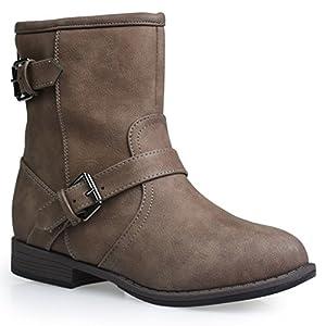Twisted Women's Amira Short Buckle Strap Riding Boot - AMIRA68 Mocha, Size 10