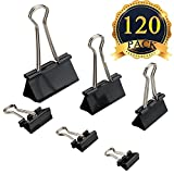 120 Pack Binder Clips - Paper Clamp Clips Assorted 6 Sizes for Office, Home, Schools, Kitchen Home Usage (Black)