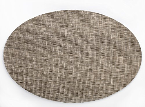 HYSENM 4Pcs Pack Oval Shape Heat Insulation Stain Resistant Washable Woven Table Mats Placemats, coffee