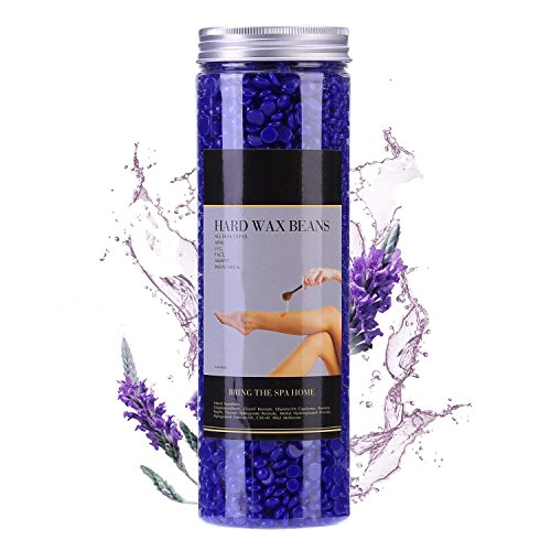 Hair Removal Hard Wax Beans for Women and Men 400g/Bottle - Stripless Painless Wax Beads Depilatory for Wax Warmer Kit, Smooth Facial and Body Armpits Bikini (Purple,Lavender) by JustWax
