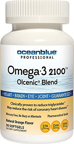 Cheap Ocean Blue | Olcenic Blend | Omega-3 2100 Fish Oil | EPA and DHA | No Fish Aftertaste | Orange Flavor | 30 Count