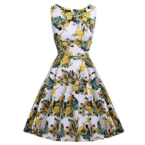 Damen Sommerkleid Retro Chic ärmellos Kleid Cocktailkleid Rockabilly Swing Kleid Minikleid Knielang - YAMEE 988