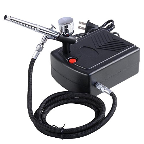 AW Pro Makeup Airbrush Kit 0.3mm Dual-Action Spray Gun Air Compressor Tattoo Hobby Decoration ()