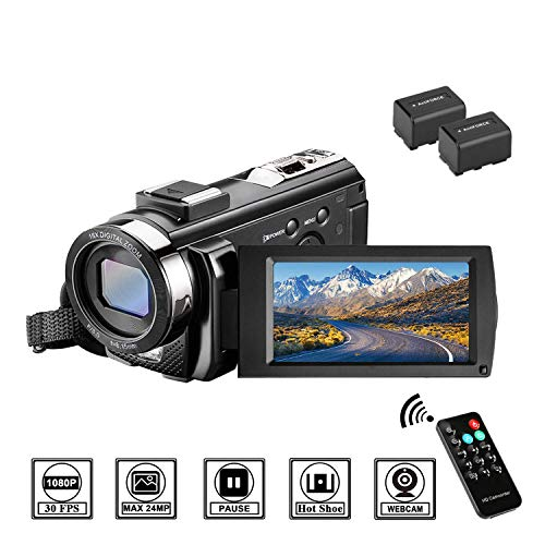 Video Camera Camcorder with Remote Control, Aasonida YouTube Camera 30FPS 1080P with Hot Shoe and 2 Batteries, 24MP 3 Inch Screen 270 Degree Rotation Screen 16X Digital Zoom, Pause Function (01 Hot Shoe Cable)