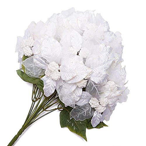 Sparkling White Sheer and Velvet Leaf Poinsettia Bush for Indoor Decor ()