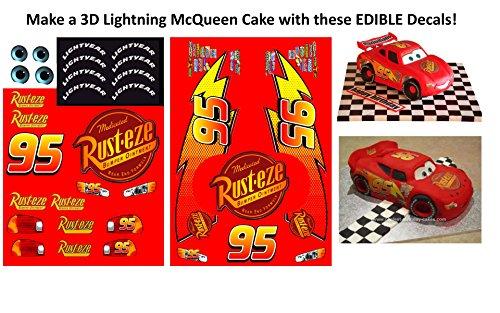 Edible Lightning McQueen Car Decals to make a 3D Lightning McQueen Cake - Lightning McQueen Party - Mcqueen Lightning Decals