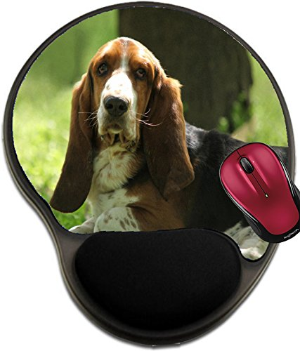 Liili Mousepad wrist protected Mouse Pads/Mat with wrist support design Tricolor Basset Hound Limousine Dog Photo (Basset Hound Photo Frame)