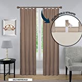 Blackout Room Darkening Drapery Curtain – ADJUSTABLE LENGTHS, Molly Collection Drapery Tab Top Curtain Panel, One Panel 52 x 84 Color Beige For Sale