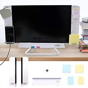 DailyTreasures Acrylic Monitor Memo Board, 7pcs Set Includes 2pcs Computer Monitors Side Panel(Left+Right),1pcs Message Memo Pad Shelve + 4 Set Sticky Notes for Office Home Desk Organizer Phone Holder