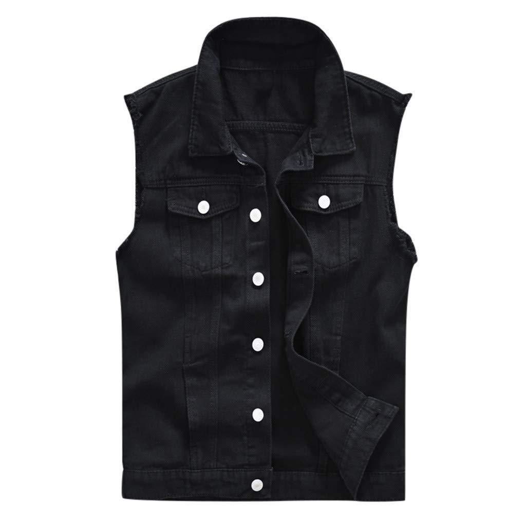 Men's Motorcycle Denim Sleeveless Jacket Slim Fit Punk Denim Vest Sleeveless Jeans Vest Jacket with Rivets Outwear Coat by Mens Hoodies F_Gotal