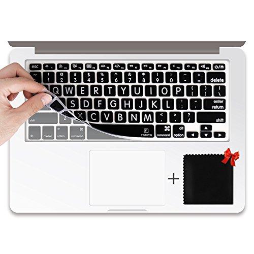 "Keyboard Skin for Macbook Air 13, Macbook Pro 13"" 15""(2012-2015 model) , iMac Wireless Keyboard (Black Big Letter)"
