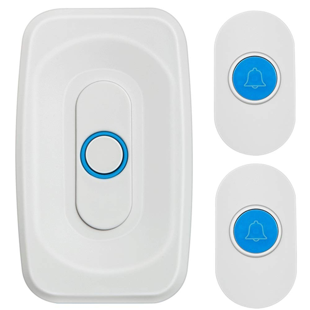 White 2x1 White 2x1 Home Wireless Electronic Ultra Long Distance Battery Intelligent Remote Control Old Caller doorbell (color   White, Design   2x1)