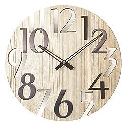 A.Cerco Classy 16 Wooden Silent Quartz Wall Clock- Beige