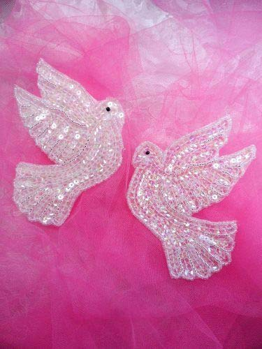 Dove Applique - Mirror Pair Crystal AB Dove Sequin Appliques Beaded Sewing Crafts Motif DSKZZ-1004