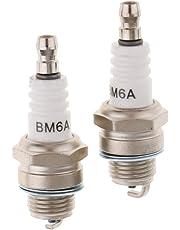 Perfeclan 2 piezas de motor estándar bujía bm6a para motosierra cortadora de césped strimmer