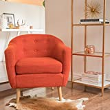 Navaro | Button-Tufted Fabric Club Chair | in Muted Orange Review