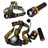ON THE WAY 1800Lm CREE XM-L T6 U2 LED 3 in 1 Zoom Adjustable Flashlight headlamp Bike light Super Bright LED Head torch with AC Charger, AAA/18650 Rechargeable Battery (Battery included)