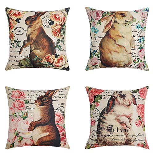 MUILEE Pack of 4 Decorative Pillow Cover Beautiful Flowers and Vivid Rabbits Pattern Throw Pillow Case Cotton Linen Bunny Pillow Case for Easter Decoration 18 x 18 Inch