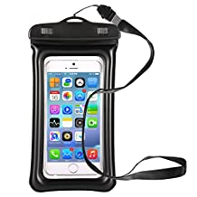 MOMOSTAR Cell Phone Dry bag Universal Waterproof Dirtproof Snowproof Bag for Diving Surfing Skiing ,Waterproof Cell phone case apply to iPhone 7,7plus, 6s, 6s Plus, iPhone 6/5/4, Samsung Gaxaly Note 5/4/3/2(Black)