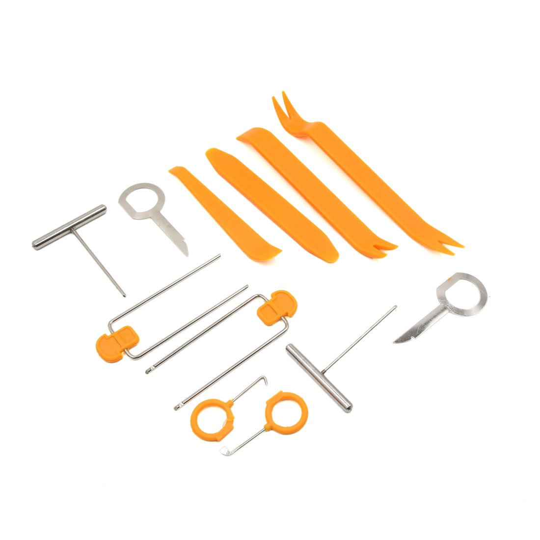 uxcell 12 in 1 Orange Auto Car Door Audio System Video GPS Panel Trim Dismantle Removal Tools Kit