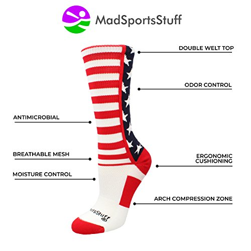 MadSportsStuff USA American Flag Stars Stripes Crew Socks (Navy/Red/White, Small) by MadSportsStuff (Image #2)'