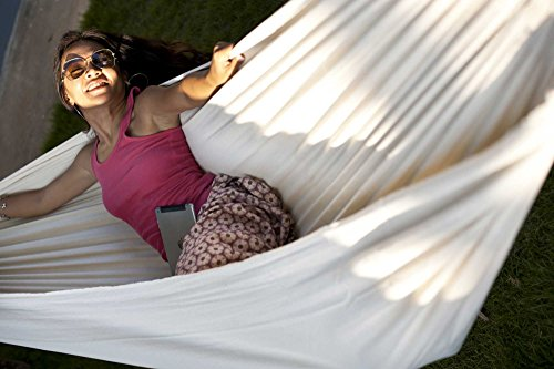 Hammock Sky Brazilian Double Hammock - Two Person Bed for Backyard, Porch, Outdoor and Indoor Use - Soft Woven Cotton Fabric for Supreme Comfort (Natural) - Natural Outdoor Fabric