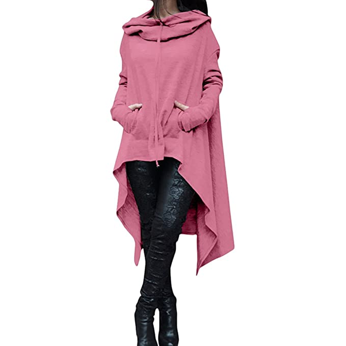 d51e10cb3ea Women's Fashion Solid Color Draw Cord Coat Long Hoodie Hi-Low Asymmetric  Hem Pockets Pullover 3XL Pink