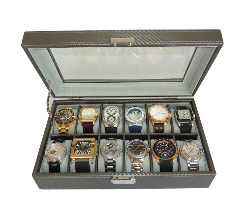 12 Piece Pewter Carbon Fiber Watch Display Case Men's or Ladies Watch Box Jewelry Glass Top from TimelyBuys