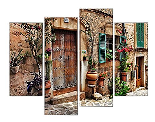 Very artistic Giclee Artwork 4 Panel Wall Art Streets Of Old Mediterranean Towns