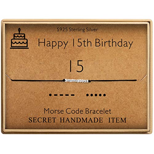 Happy 15th Birthday Gifts for Girls Morse Code Bracelet Sterling Silver Bracelet Birthday Jewelry 15 Year Old Gifts for Her