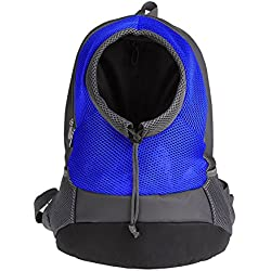 Avelaiva Dog Backpack, Comfortable Portable Large Dog Pet Carrier Bag, with Breathable Mesh and Head-Out Design, for Small Medium Dogs, Pets, Bearing Weight 8 lb. (Blue)