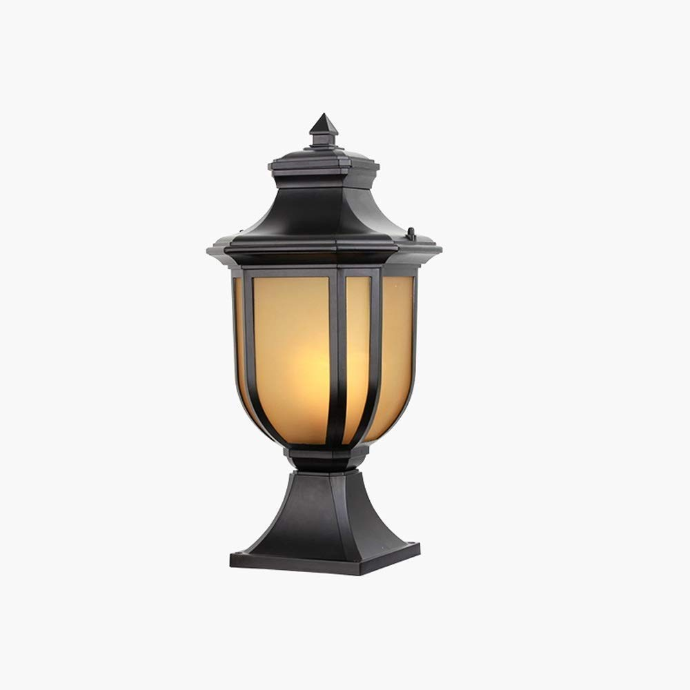 Magosca Retro IP65 Waterproof Outdoor Column Lamp European Garden Yard Street Fence Post Pillar Lights External Glass Lawn Garden Patio Landscape Light Fixture Outside Deco Porch Lighting