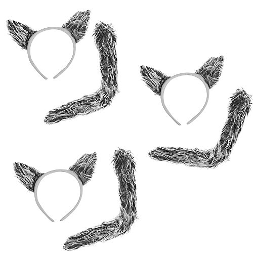3 Sets of Wolf Ears & Tails - 3 Sets Of Faux Fur Grey Worf Ears Headbands And Tails For Costume