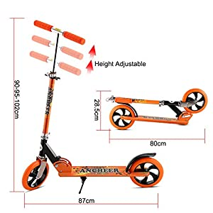 Ancheer Adult Teen Kick Scooter with 2 Big Wheels | Easy-Folding Adjustable Height Commuter Street Push Scooter for City Urban Riders, Supports 220lbs Weight (Orange)