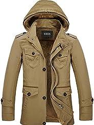 Nidicus Mens Classic Zipper Up Pea Coat with Removable Hood & Fleece Li