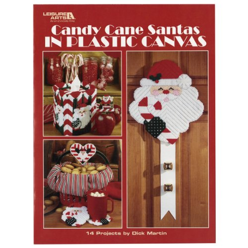 LEISURE ARTS Candy Cane Santas in Plastic Canvas