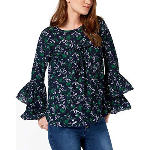 Michael Michael Kors Womens Fleur Textured Floral Print Blouse Navy M