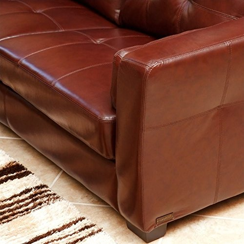 Abbyson Living Torrance 2 Piece Leather Sofa Set in Burgundy
