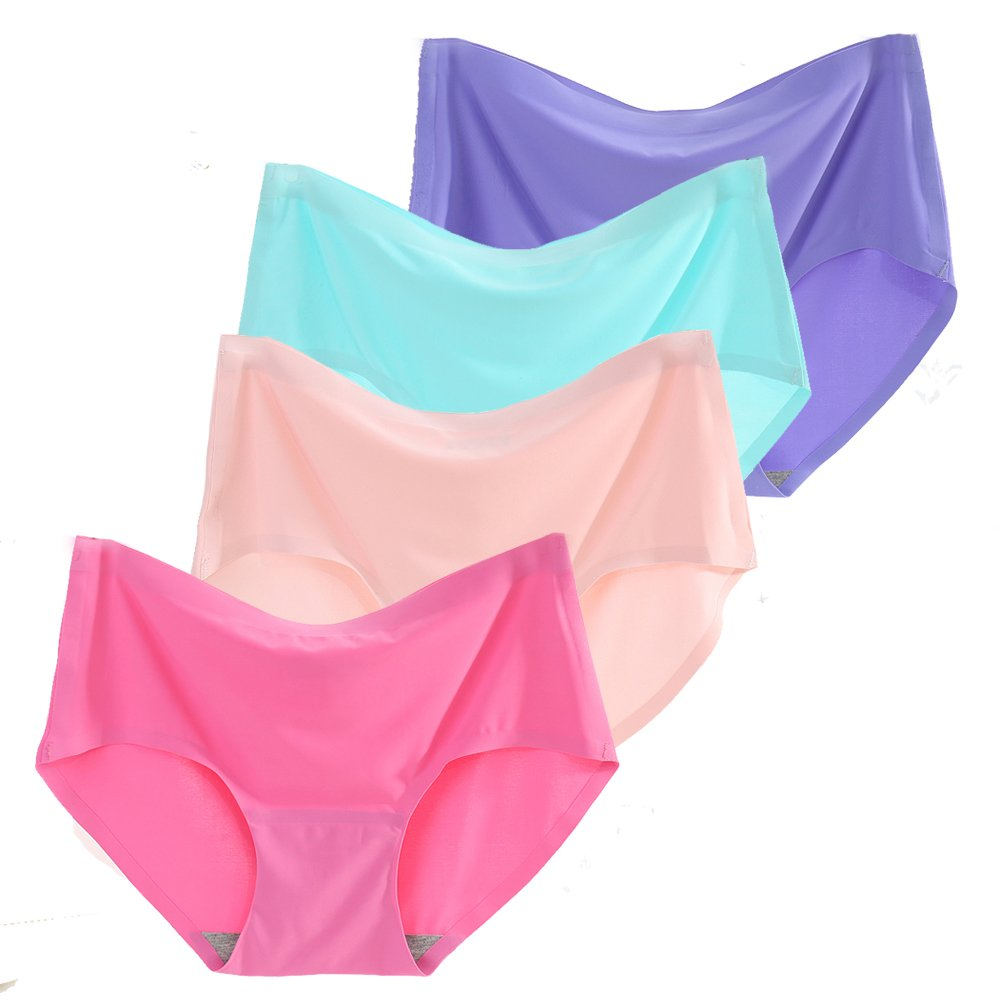 a4e5fdba2b Women s 4 Pack Comfort Revolution Seamless Silky Brief Invisible Panties  Quick Dry Underwear at Amazon Women s Clothing store