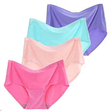12057359086f Sujisi Women's 4 Pack Comfort Revolution Seamless Silky Brief Invisible  Panties Quick Dry Underwear,Fit