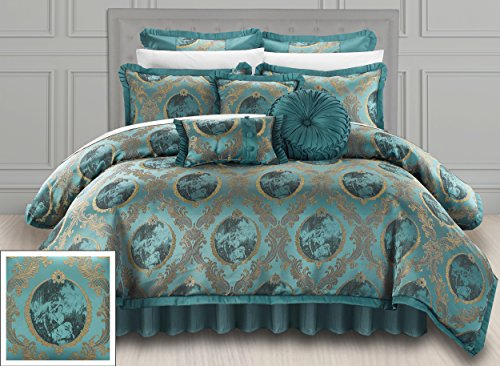 Chic Home 9 Piece Romeo & Juliet Decorator Upholstery Quality Jacquard Motif Fabric Bedroom Comforter Set & Pillows Ensemble, Queen, Teal
