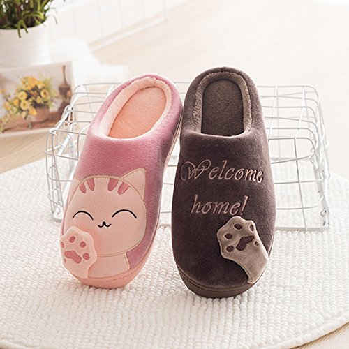 ChicPro Cute Women Ladies Cat Slippers Winter Warm Fuzzy Bedroom Shoes Non Slip House Slippers for Men Coffee 4OQdM