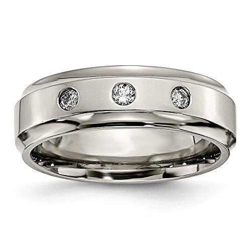 Ridged Edge Polished Titanium - FB Jewels Solid Titanium Polished 1/5Ct. Tw. Diamond Ridged Edge Wedding Band Size 10.5