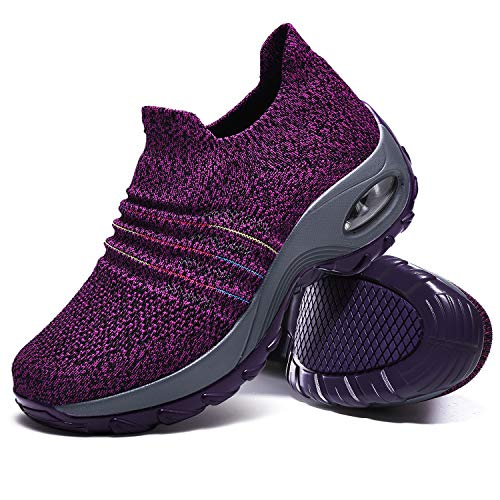 Women's Walking Shoes, Slip on Sneakers Flyknit Fashion Comfortable Platform Sneakers Lightweight Sock Shoes Breathable Loafers with Gradient Color Line(Purple,9.5)