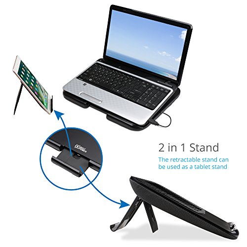 AVLT-Power Laptop Riser Stand Cooling Pad with USB Fan and Detachable Tablet Stand - Ergonomic Design Multiple Height/Angle, Soft Mesh Bottom, Notebook Cooler/Chill Mat/Lap Pad Table Desk by AVLT-Power (Image #1)